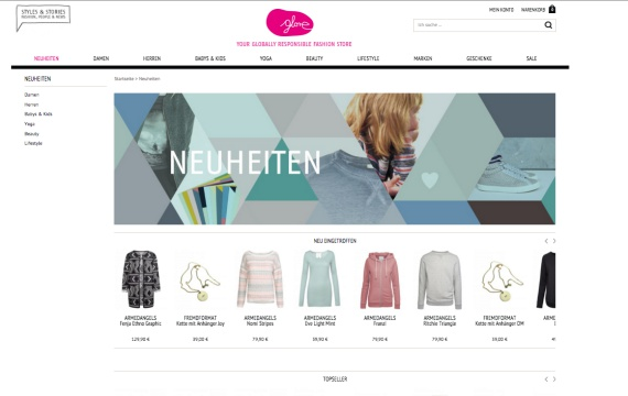 Fair-Trade-Mode im glore Online-Shop - Foto: Screenshot von www.glore.de